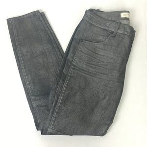 Marc Jacobs Skinny Gunmetal Coated Cigarette Jeans